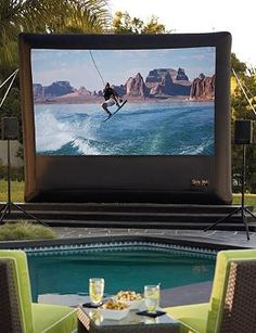 Host memorable movie nights under the stars or show the big game at your summertime parties with the quick and easy to set up Inflatable Outdoor Projector Screen.