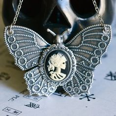 Miss Skeleton Butterfly Necklace  Ivory Black by blackpersimmons, $36.00