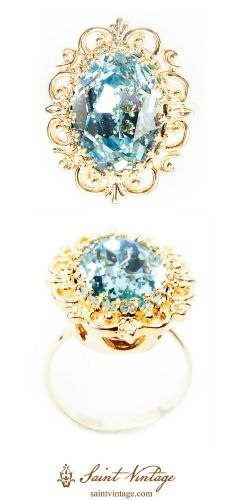 """Luxurious, handcrafted vintage-inspired ring! The center stone is blue topaz. Spend $150 more at www.saintvintage.com & use code """"SVSummer"""" for FREE shipping!"""