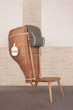 Domestica chair, 2011 Oak wood, straw, woolen blanket, cotton rope, ceramic, by formafantasma