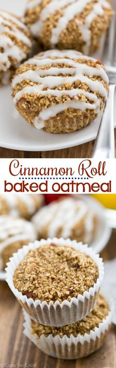 Cinnamon Roll Baked Oatmeal using Quakers 3 minute steel cut oats. Easy breakfast recipe that's perfect for busy mornings! Make this baked oatmeal ahead of time for a quick meal! What's For Breakfast, Breakfast Dishes, Breakfast Recipes, Breakfast Muffins, Second Breakfast, Breakfast Options, Baked Oatmeal Muffins, Baked Oatmeal Recipes, Baking Muffins