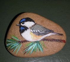 Vintage-Hand-Painted-Chickadee-on-stone-Signed-by-Odette
