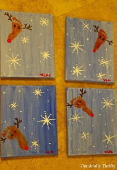 Canvas using child's foot to make a reindeer. SO CUTE!