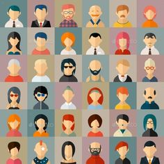 Flat People Character Avatar Icons - People Characters