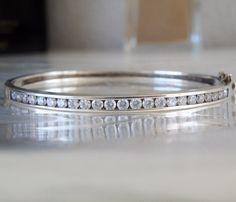 "Sterling Silver 925 Channel Set 5ct CZ Cubic Zirconia Bangle Bracelet w Clamp 7"" #designer #Bangle #DiamondBangle #DiamondBracelet #ChanelSetBangle"