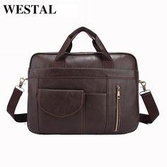 36.68$  Watch now - http://alitox.shopchina.info/go.php?t=32789319757 - WESTAL Genuine Leather Men Bag Man Briefcase Cowhide Leather Crossbody Shoulder Handbag Fashion Laptop Bag Men's Messenger Bags  #magazineonlinewebsite