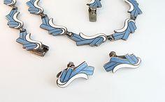 Margot de Taxco Sterling Enamel Necklace Earrings Set Pale Blue White Mexico 1950s Jewelry. $595.00, via Etsy.