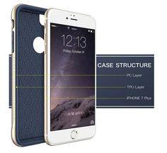 iPhone 7 Plus Case, SGM Premium Hybrid [Dual Layer] Armor Case Cover For Apple iPhone 7 Plus [Advanced Anti-Slip Design] [Shock Proof] (Dark Blue + Gold)