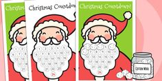 Santa's Beard Christmas Countdown - A lovely little resource to get your children excited for Christmas, pefect for Christmas themed whole-class activities!