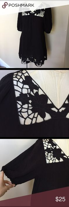 BCBG Max Azria Black Crochet Trim Tunic Super lightweight and breathable. 100% rayon (hand wash). Perfect year round piece with the right styling! BCBGMaxAzria Tops Tunics