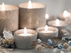Find below some of the most original DIY Christmas candle holders and ideas for homemade festive decorations. Candles give a special atmosphere Christmas Candle Holders, Christmas Candles, Christmas Ornaments, Beautiful Christmas, White Christmas, Christmas Time, Christmas Glitter, Elegant Christmas, Christmas Christmas