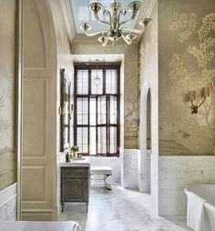 Design by Eddie Lee Inc blue ceiling bathroom Hand Painted Wallpaper, Bathroom Design Inspiration,