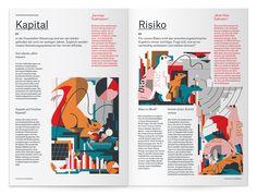 Munich RE – Daktylos magazine illustrations on Behance . Graphic Design Layouts, Book Design Layout, Print Layout, Graphic Design Posters, Editorial Design Inspiration, Editorial Layout, Mise En Page Magazine, Buch Design, Magazin Design