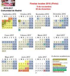 Fiestas y días no lectivos (no hay clase) del curso 2016-2017 en la Comunidad de Madrid. #vacaciones #fiestas Periodic Table, Html, Baccalaureate, School Calendar, Special Education, School Holidays, Periodic Table Chart