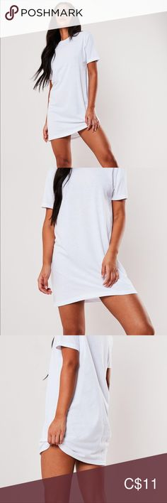 NWT Missguided T-Shirt Dress NWT ! Cute, white t-shirt dress, perfect to pair with sandals or sneakers in summer, or wear as a nightgown! Missguided Tops, Missguided Dresses, White T, Plus Fashion, Fashion Tips, Fashion Trends, Nightgown, Tunics, Shirt Dress