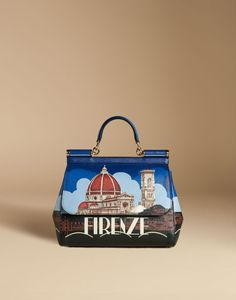Medium sicily bag in printed dauphine leather | dolce&gabbana online store