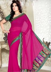Pink Color Georgette Festival & Function Wear Sarees : Rishan Collection  YF-41835