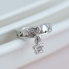 [0724] Adorable Heart and Star Pinky Ring