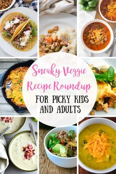 Do your kids fight you on veggies? Or are you a veggie hater yourself? Whether you love veggies or not, this Sneaky Veggie Recipe Roundup will give you a TON of great ideas for getting extra green in your meals each and every day! Recipes For Vegetable Haters, Vegetable Recipes For Kids, Whole Food Recipes, Dinner Recipes, Dinner Ideas, Hidden Vegetables, Healthy Vegetables, Toddler Vegetables, Healthy Meals For Kids