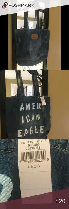 American Eagle Jean Style Tote Bag Brand New American Eagle Jean Tote Bag Brand New with Tag Bundle with my other items for an extra discount!!! Happy Poshing!! American Eagle Outfitters Bags Totes