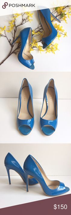 """M. Gemi peep-toe heels Gorgeous shoe! Too small for me, could be perfect for you!   Handcrafted limited edition Italian luxury shoes. Brand new, never worn. I don't have original box since I keep my shoes in clear containers. I do have duster bag. Retail new $258. M.Gemi is a blogger favorite. Check them out to better understand this product: http://mgemi.com/about-us/.    Blue patent leather. (bright, cheery blue!) 4.25"""" heel. Size 39. M.Gemi Shoes Heels"""