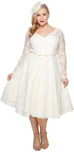 9059dee7911 Unique Vintage Plus Size Long Sleeve Martinique Swing Dress