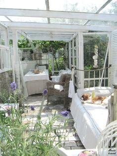 Sun room complete with cavalier spaniel