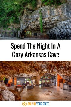 If you're looking for unique accommodations, you can't beat this cozy cave lodge in Arkansas. The underground home can sleep 12 guests and offers amenities like a waterfall shower, full kitchen, laundry, plush beds, and more. Above ground, enjoy a fire pit and the natural beauty that surrounds you. Ozark National Forest, Best Bucket List, Waterfall Shower, Underground Homes, Ares, Hidden Beach, Natural Bridge, One With Nature, Travel List