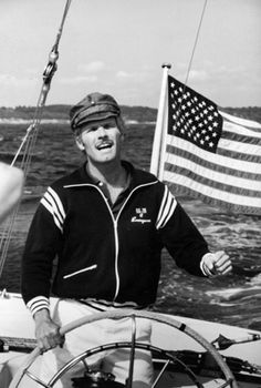 Last of the gentleman sailors: Ted Turner at the helm of Courageous, the yacht he sailed to victory in the 1977 America's Cup race.