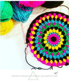 Floral Folk Art Inspired Bright Bohemian Mandala | Free Crochet Pattern with step-by-step tutorial for quick and easy crochet edging using treble, double, and bobble stitch crochet ... get festival feels in your home this summer!