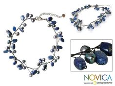 Pearl & lapis lazuli choker, 'Ethereal' at The Animal Rescue Site
