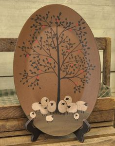Sheep Oval Tray - Family Reunion-Sheep Decor,Sheep Tray,Sheep Apple Tree,Hearthside Collection