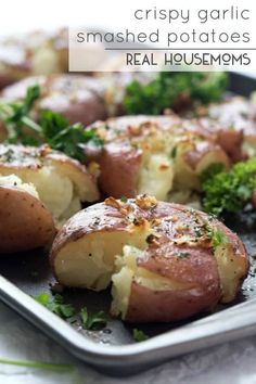 Cooked to perfection! Enjoy these crispy garlic smashed potatoes with your next meal, everyone will be coming back for seconds!