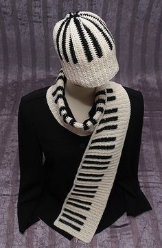 PIANO SCARF And HAT Set Reversible Crocheted Handmade by HMTbyINNA, $82.00