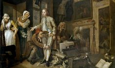 'But the great allure of Hogarth's series lies in the precise placing of the story in the London of his day, the streets, salons and gaming houses of St James's, the taverns of Covent Garden, the churches of Marylebone, the Fleet prison and Bedlam. The men and women who bought the prints when they first appeared in 1735 could recognise every setting,' (Uglow, 6/6/14).