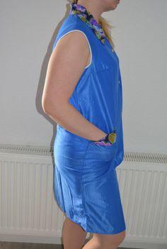 Vintage Dederon Kittel Schürze Kittelschürze transparent DDR Gr.164 blau