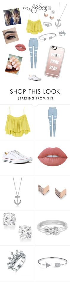 """Ruffle Top"" by joiew ❤ liked on Polyvore featuring Apiece Apart, Topshop, Converse, Lime Crime, BERRICLE, FOSSIL, Jewel Exclusive, Bling Jewelry and Casetify"