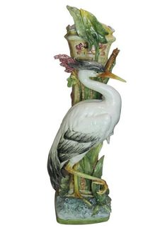 European Antique Majolica Stork Decorated Stick Stand