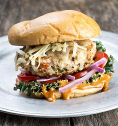 Turkey Chorizo Burger with Red Chili Mayo...perfect for any cookout!