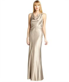 Kay Unger gold satin cowl neck sleeveless embellished back gown on shopstyle.com