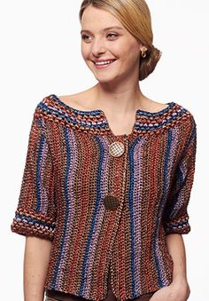 1/2-length sleeves, a ballet neck, and vertical stripes make this cardigan an absolutely stunning stand-out piece. Shown in Patons Metallic. #crochet
