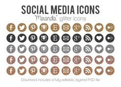 "Glitter Social Media Icons - Blog Website Buttons - ""Miranda"" Metallic Icons for Blog and Website Design"