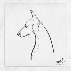 Minimal Doberman Tattoo with one line
