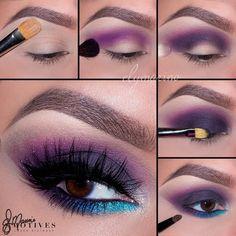 Purple eye make up - Make up - Eye Makeup Gorgeous Makeup, Love Makeup, Makeup Inspo, Makeup Inspiration, Makeup Tips, Glamorous Makeup, Makeup Eye Looks, Eye Makeup Steps, Lila Palette