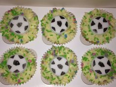 White chocolate w/ raspberries sponge topped with cream cheese icing and football fondants