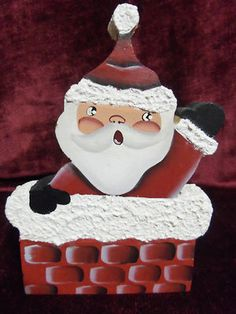 Wooden Santa Hand Painted  Santa Going Down The Chimney  secondhanddelights.com