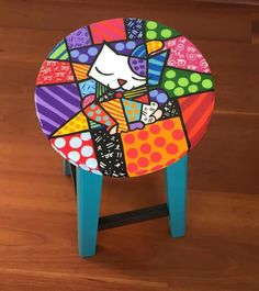 Idea Whimsical Painted Furniture, Hand Painted Chairs, Painted Stools, Hand Painted Furniture, Funky Furniture, Colorful Furniture, Paint Furniture, Repurposed Furniture, Home Decor Furniture