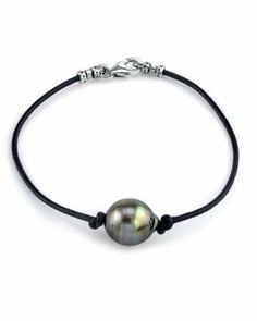 """10mm Tahitian Baroque Pearl Leather Bracelet - AAAA Quality The Pearl Source. $199.00. Newest addition to our pearl jewelry collection.. High Quality with """"Very High"""" luster stunning pearl bracelet.. Every purchase comes in an elegant gift box designed to showcase your beautiful pearls and protect them."""