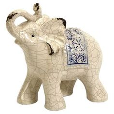 Ceramic elephant statuette with a crackled glaze ~ trunk up means good luck!