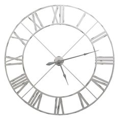 Large Vintage Metal Skeleton Wall Clock Finished in Pale Grey Off White Made from metal and battery powered finished in pale grey off white.This clock measures over a meter long, to be exact, it's a very large wall clock.